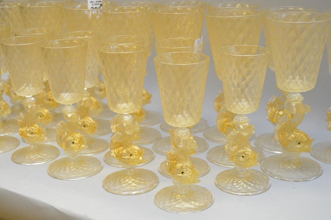 "13 Venetian wine glasses (7""h) and 15 Venetian wine - 5"