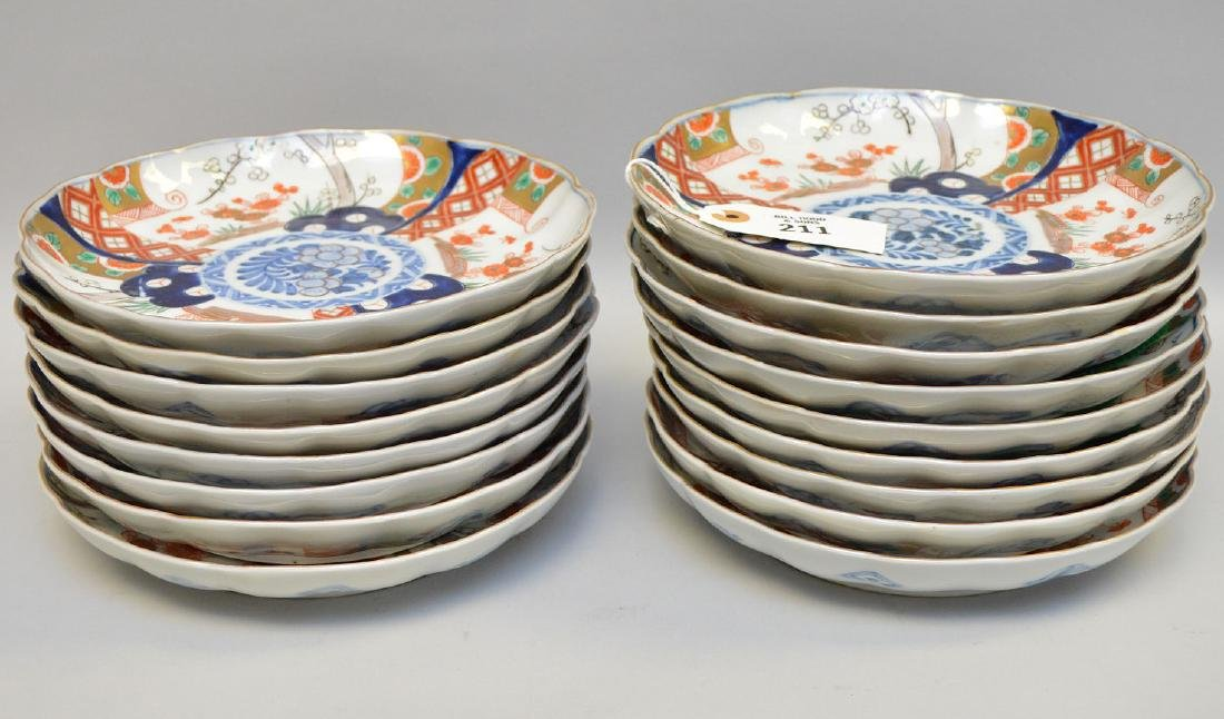 17 Japanese Imari Porcelain Plates.  Condition: no