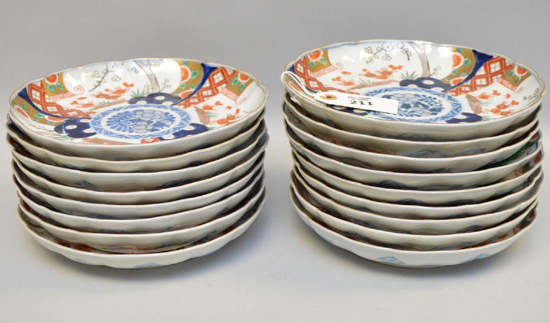 17 Japanese Imari Porcelain Plates.  Condition: no