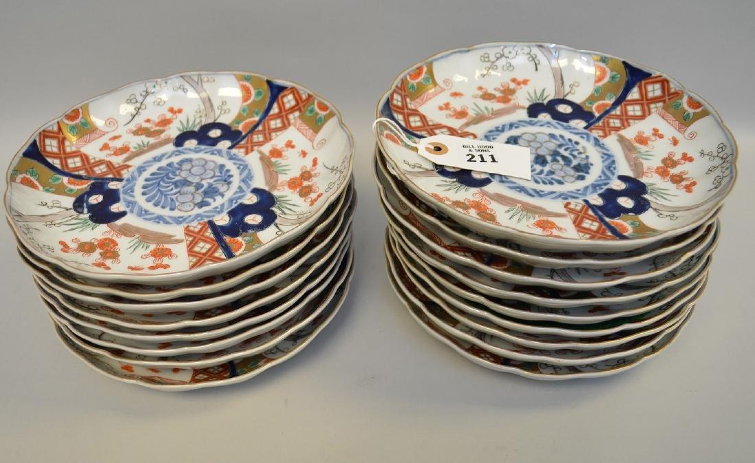 17 Japanese Imari Porcelain Plates.  Condition: no - 2