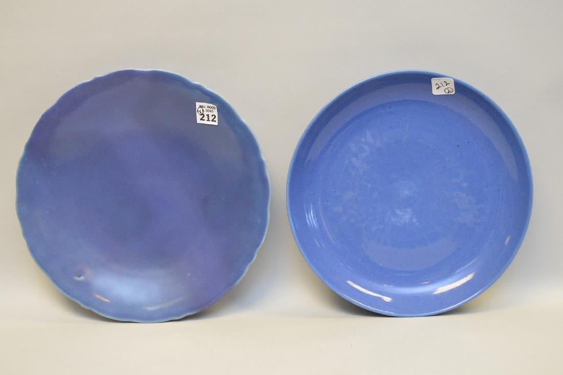 "2 Chinese blue plates, 11"" dia & 11 1/2"" dia"