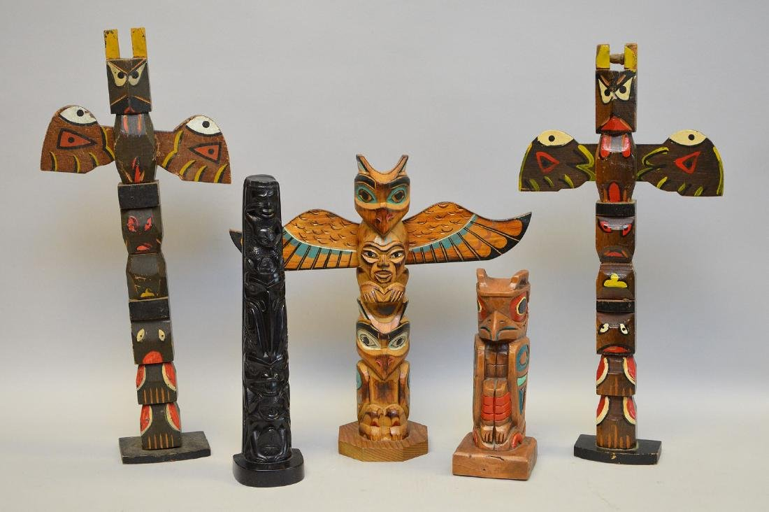 Set of Five Northwest Vintage Totems. Four Carved of