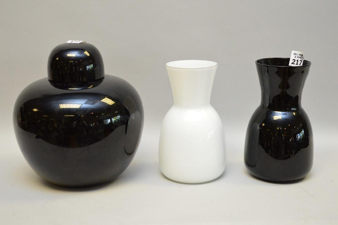 "3 Murano pieces, pair of vases (7 5/8""h) and covered"