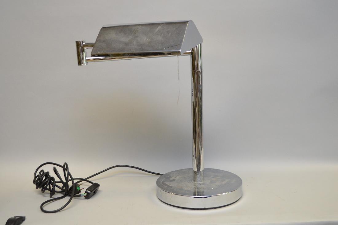 "Chrome cylindrical swing arm lamp, 18""h"