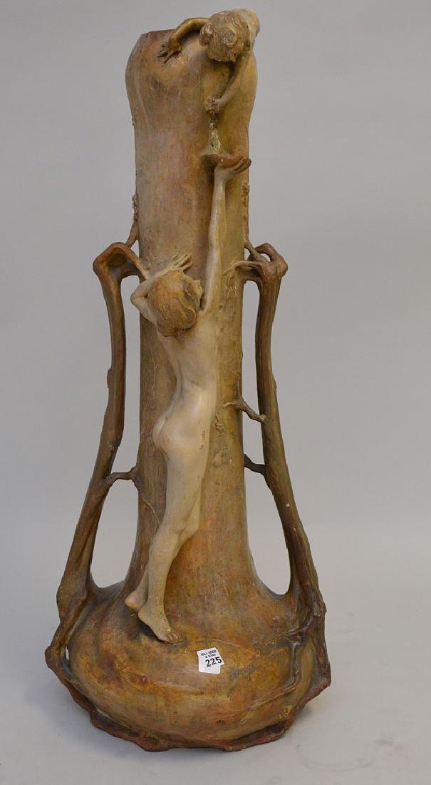 Art Nouveau figural Goldschneider vase, signed Thayer,