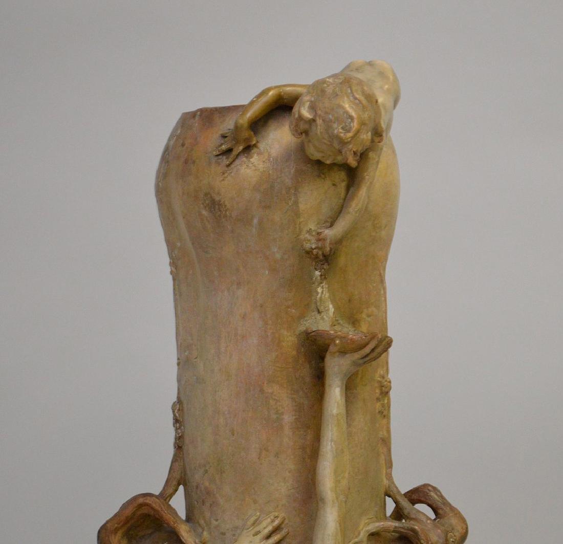 Art Nouveau figural Goldschneider vase, signed Thayer, - 2