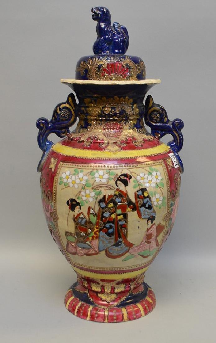 Satsuma vase panel of Geisha girls, foo dog finial on