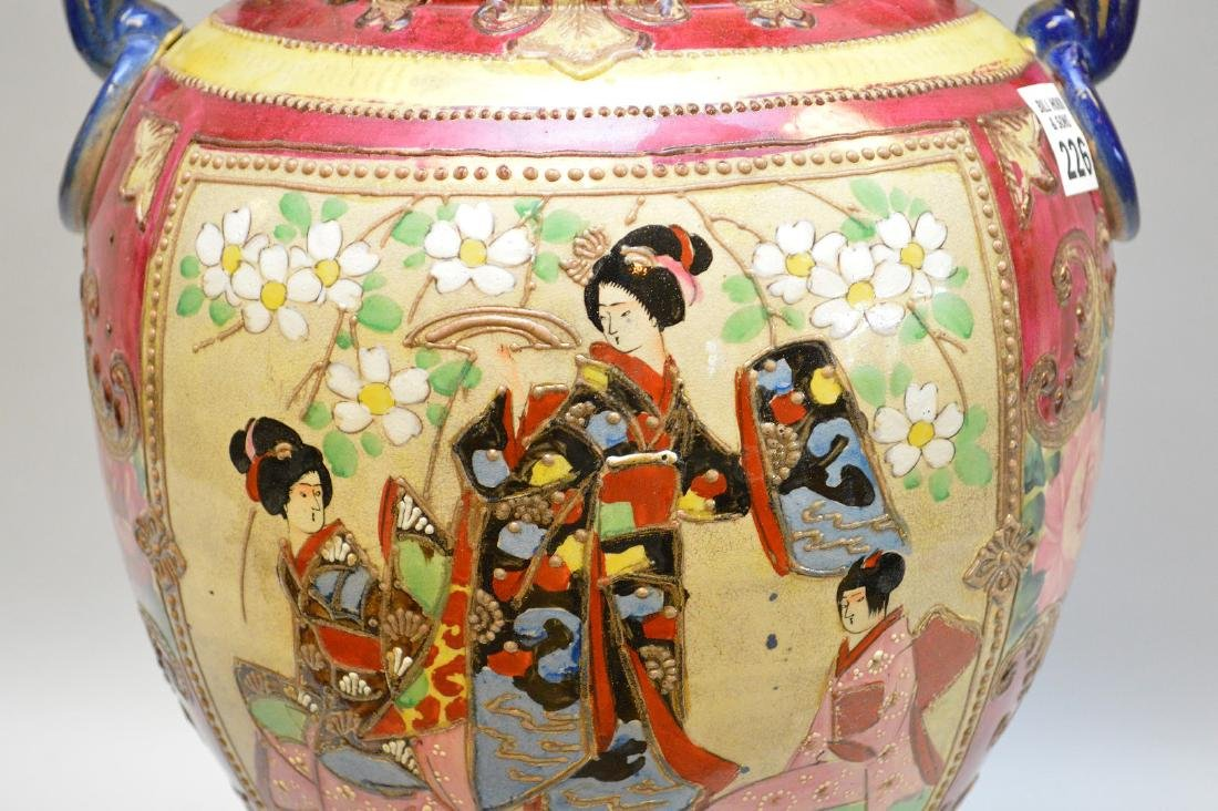 Satsuma vase panel of Geisha girls, foo dog finial on - 3