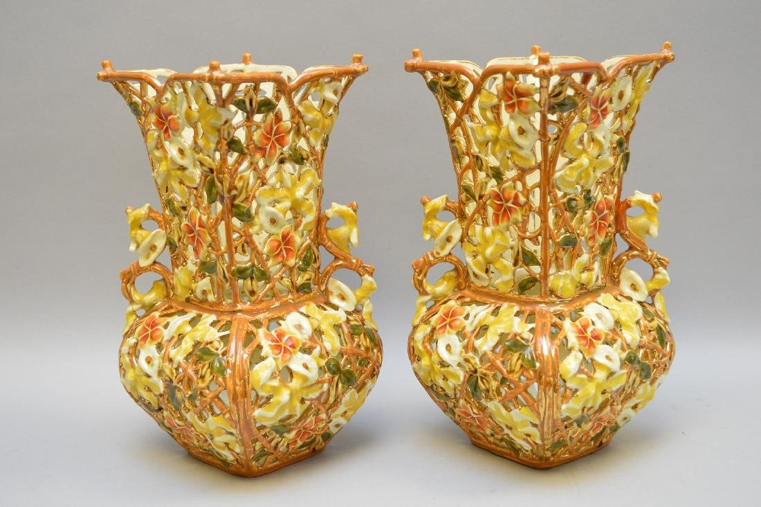 "Pair Zolnay reticulated vases, 10""h"