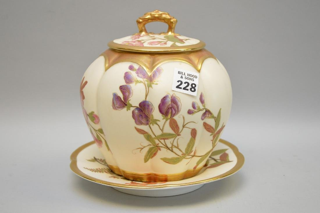 Royal Worcester biscuit jar with floral design, lid and