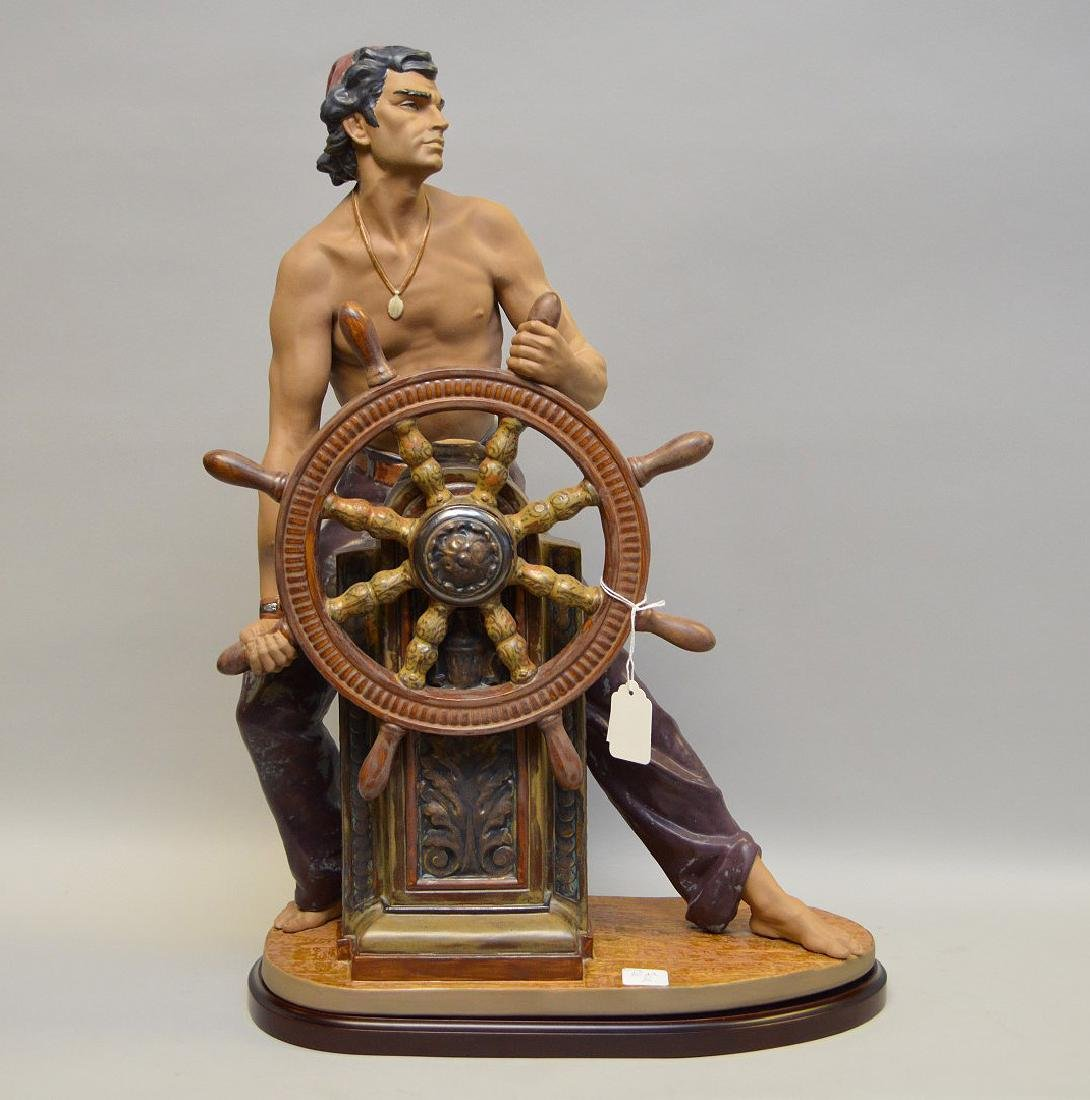"Lladro sailor, matte finish, ""Stormy Sea"", 23""h x 17""w"