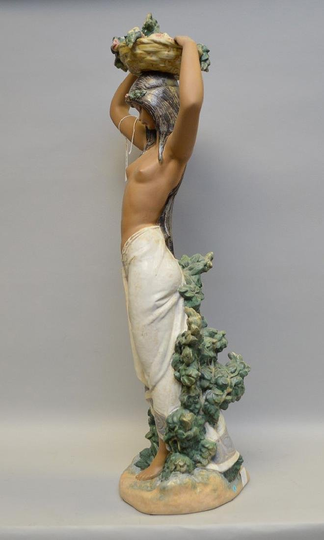 "Lladro figure and girl with flower basket on head, 30""h - 4"