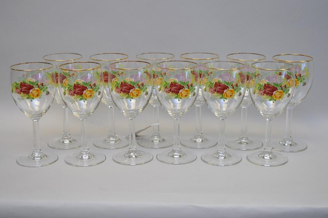 12 glass stems/goblets, matches above number