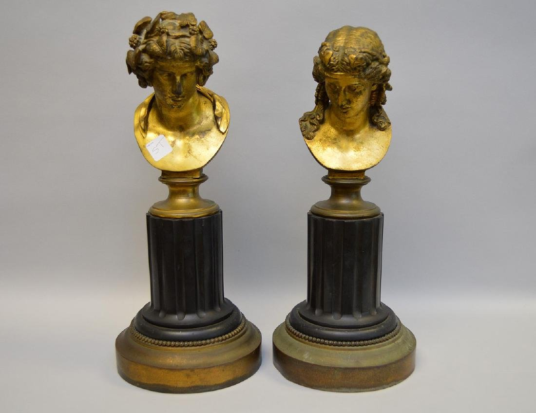 Pair Classical metal busts attached on reeded