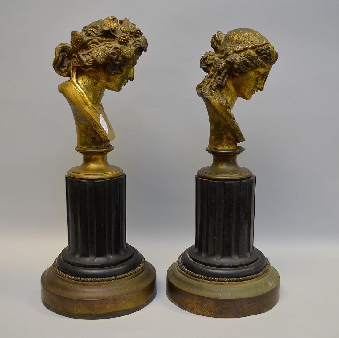 Pair Classical metal busts attached on reeded - 3