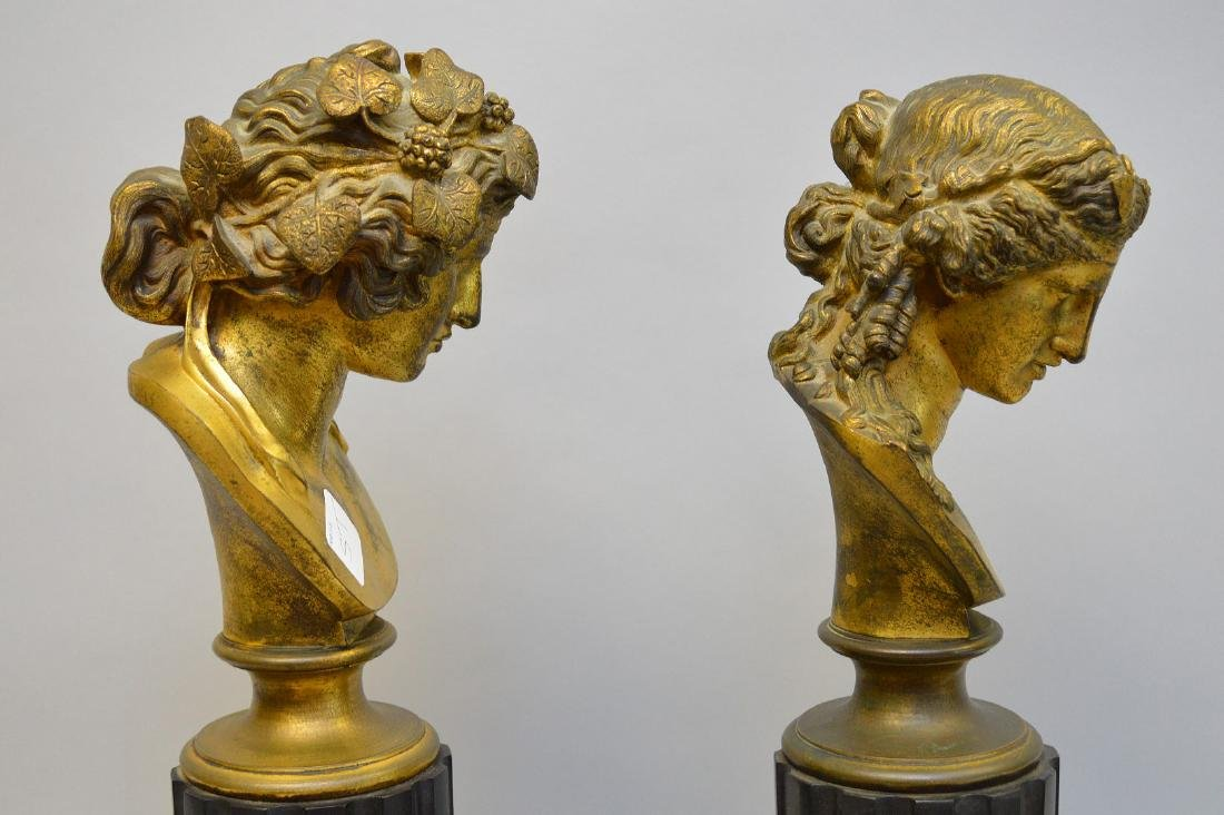 Pair Classical metal busts attached on reeded - 4