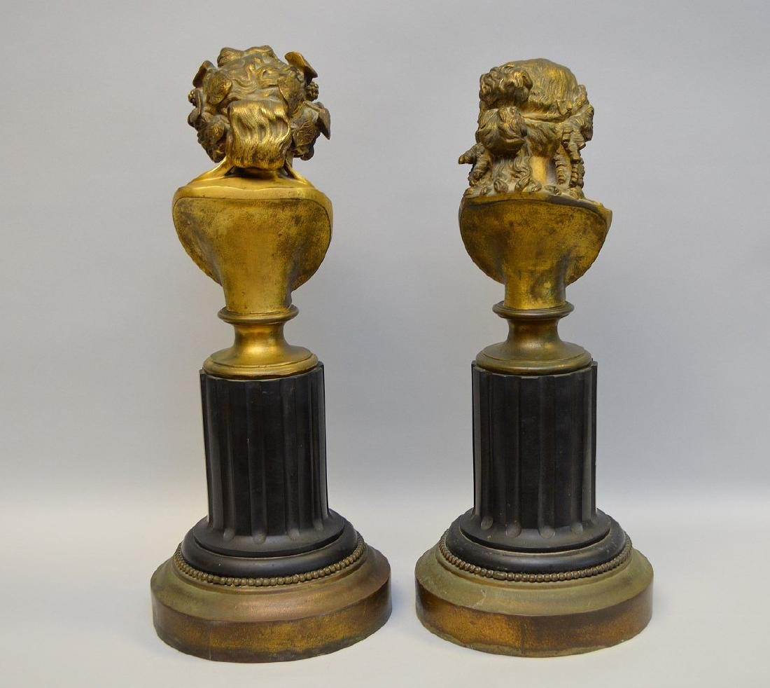 Pair Classical metal busts attached on reeded - 5