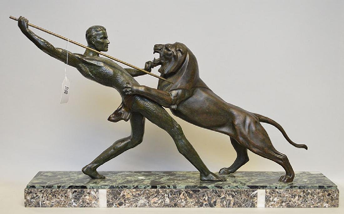 Art Deco spelter sculpture, lion attack, on marble base