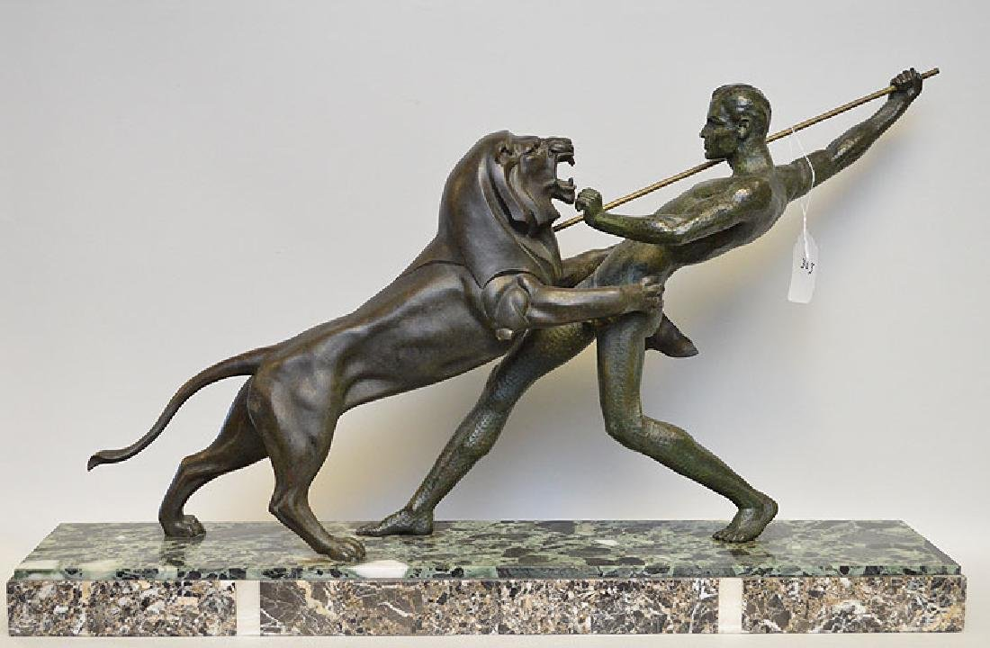 Art Deco spelter sculpture, lion attack, on marble base - 5