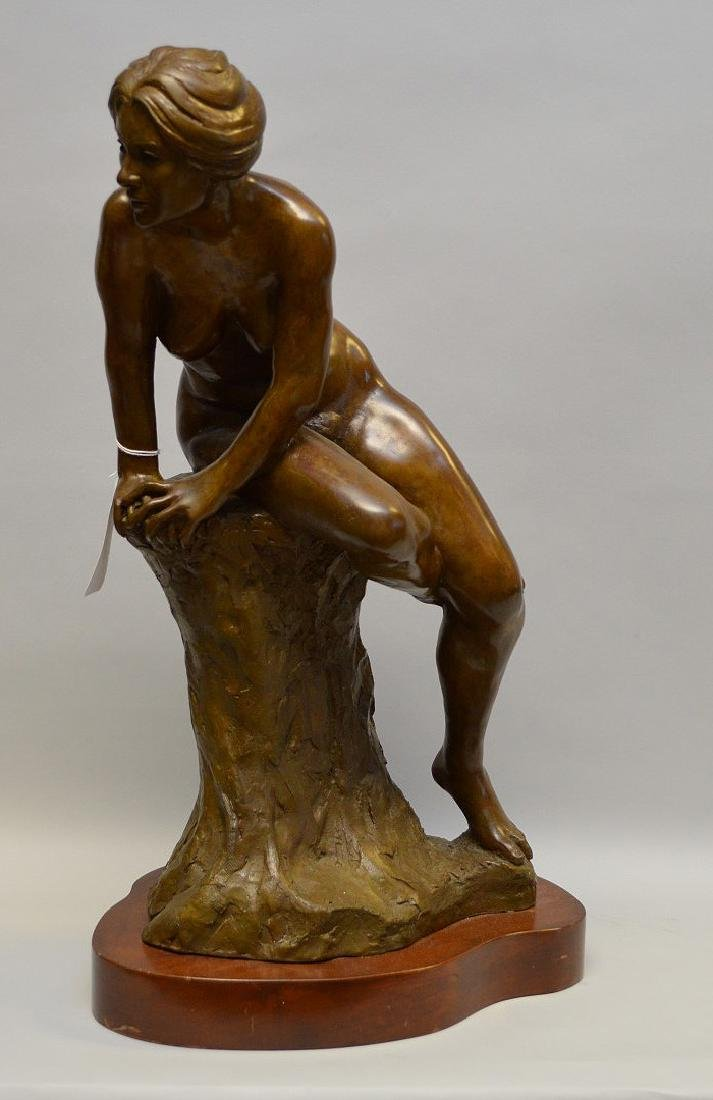Bronze seated nude, signed Berr d _ _    Zach_ _ _,