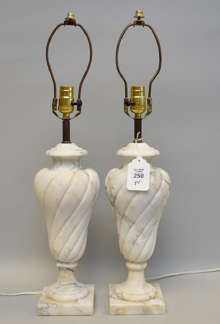 Pair alabaster urn form lamps,