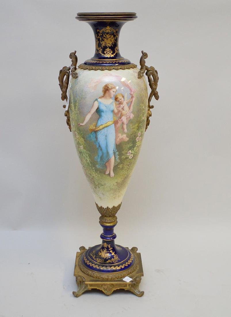 Oversized French Sevres porcelain urn form vase, hand