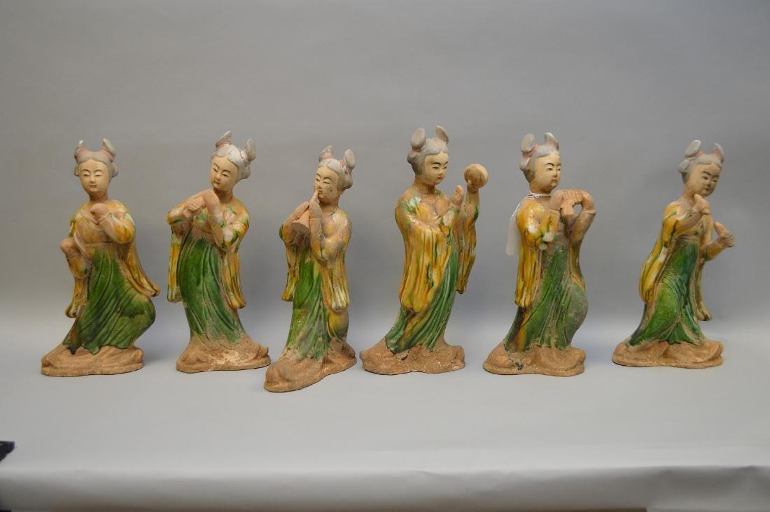 "6 Terra Cotta Chinese female musicians, 13""-14""h"