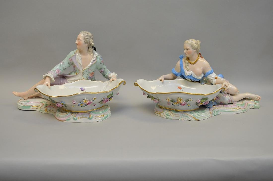 "Pair Meissen figural sweet meat dishes, 7 1/2""h x 11""w"