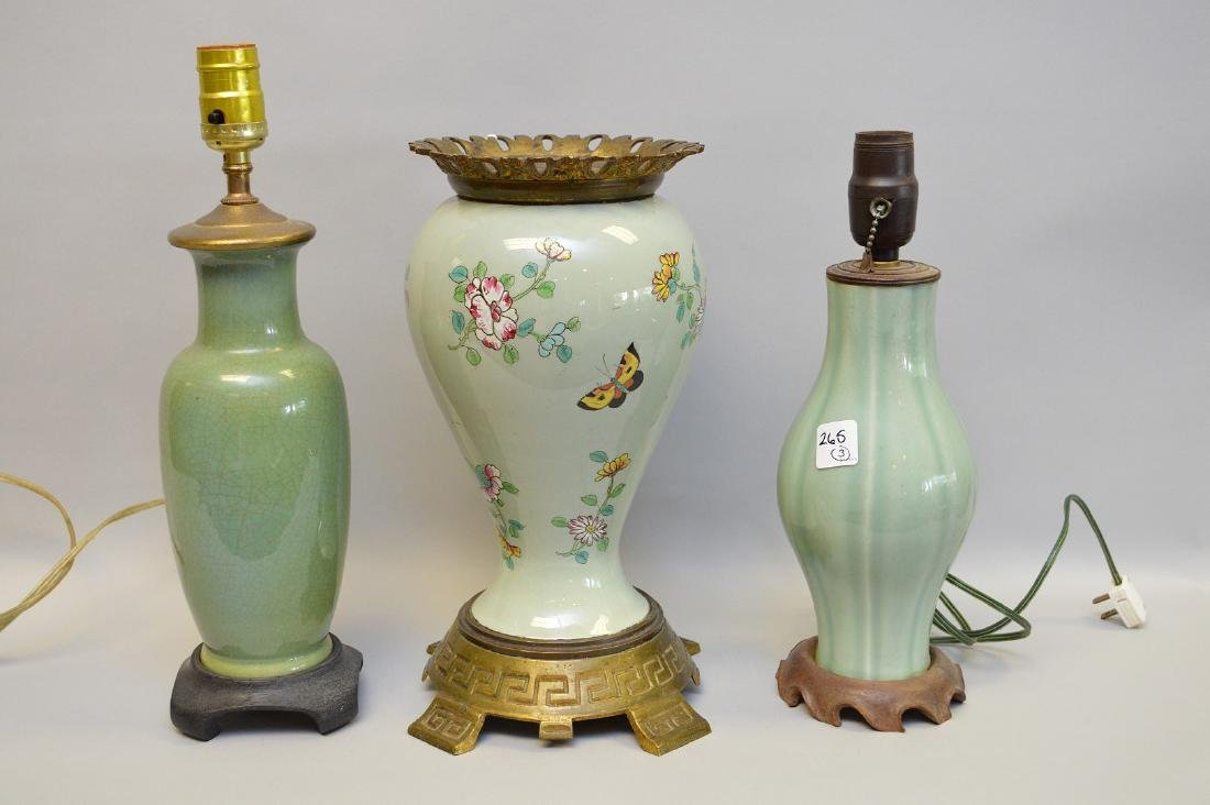 3 pieces celadon, 2 lamps and 1 urn form hand painted