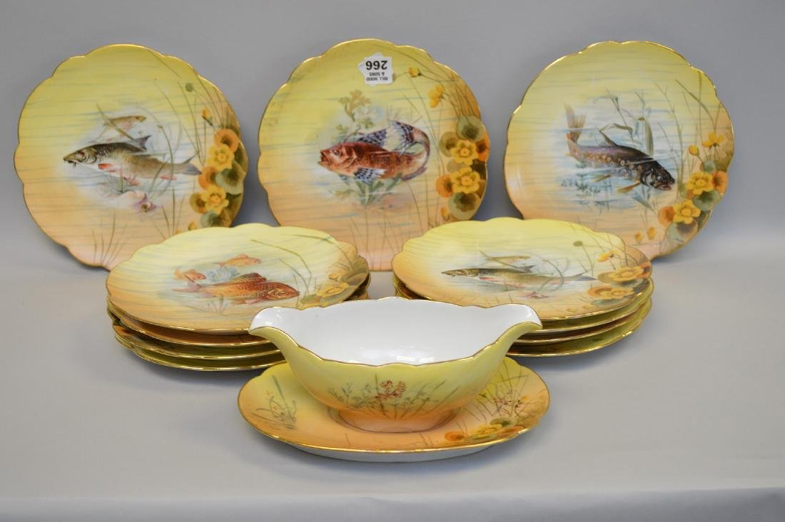 13 pc. Continental fish set, plates and gravy boat