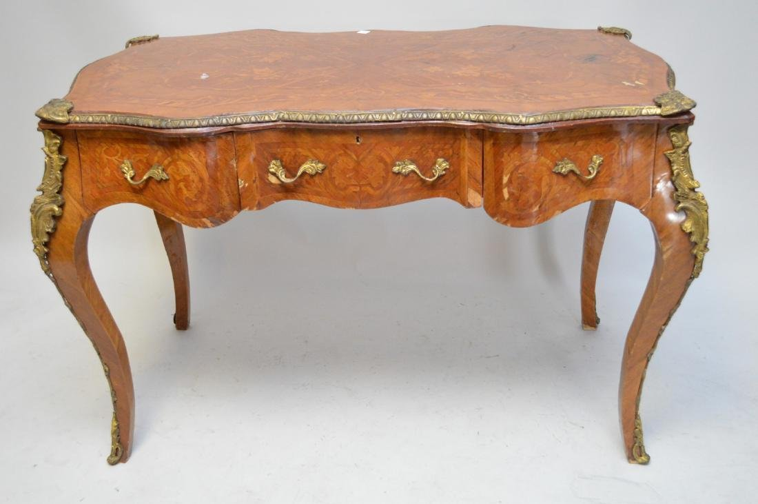 French marquetry desk, 3 side by side drawers, gilt