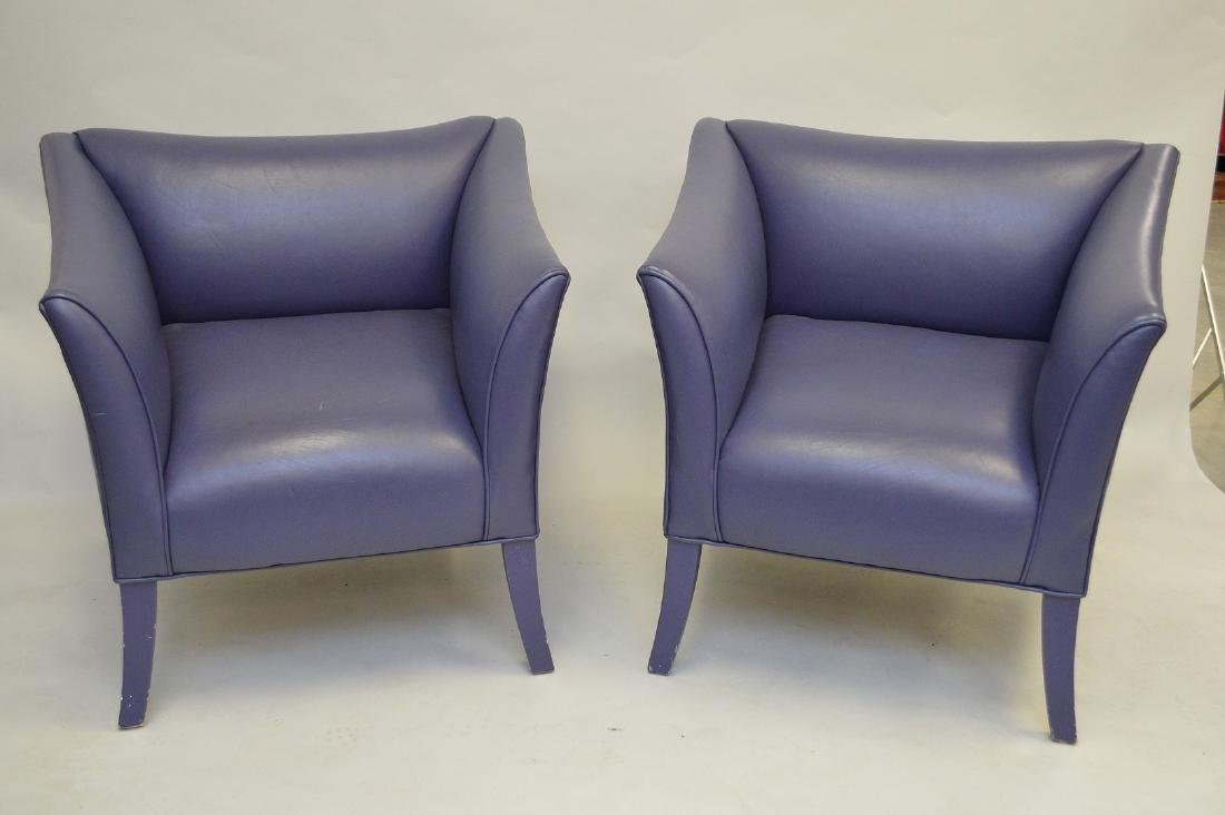 Pair purple leather moderne arm chairs