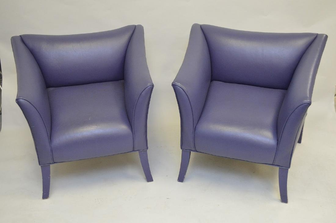 Pair purple leather moderne arm chairs - 2