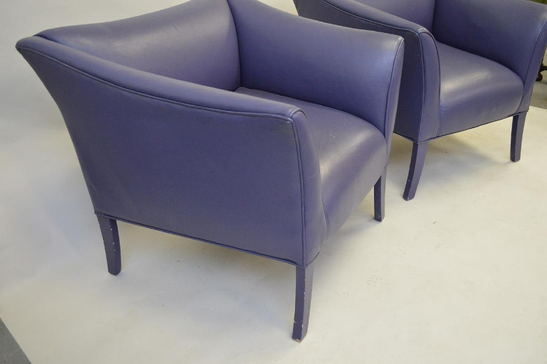 Pair purple leather moderne arm chairs - 3