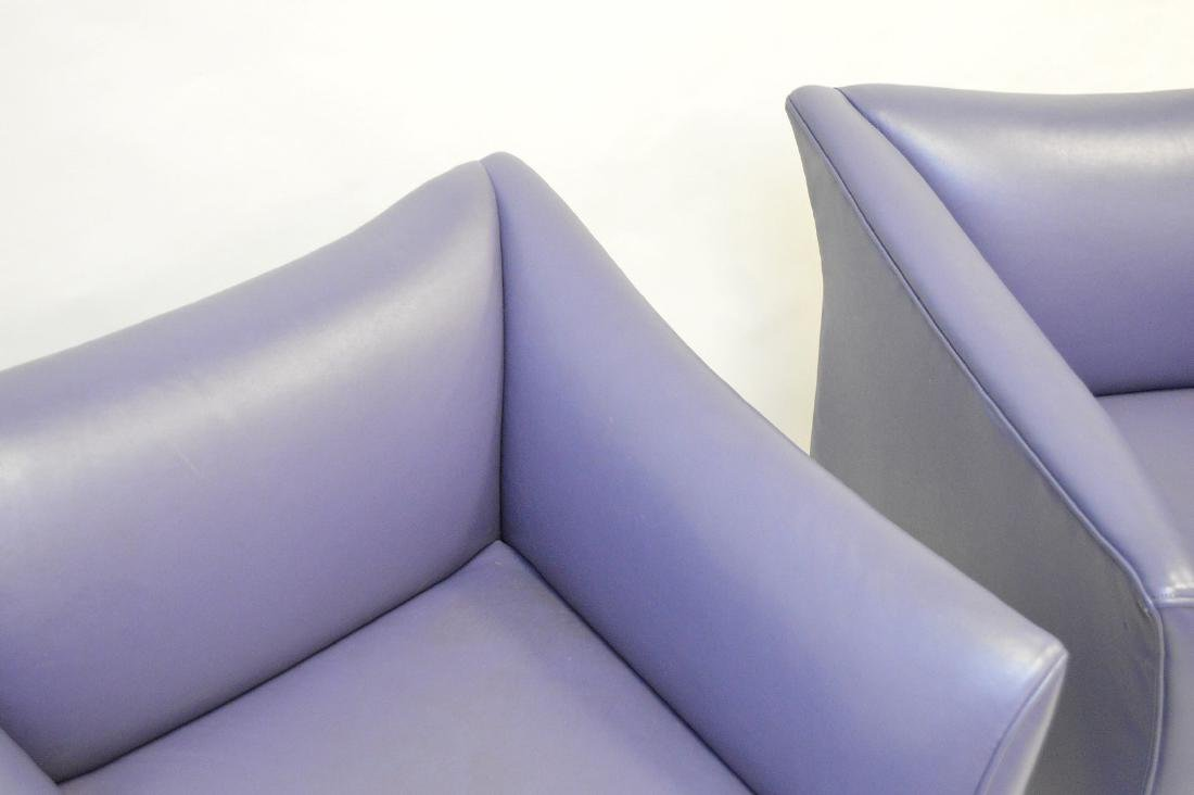 Pair purple leather moderne arm chairs - 4