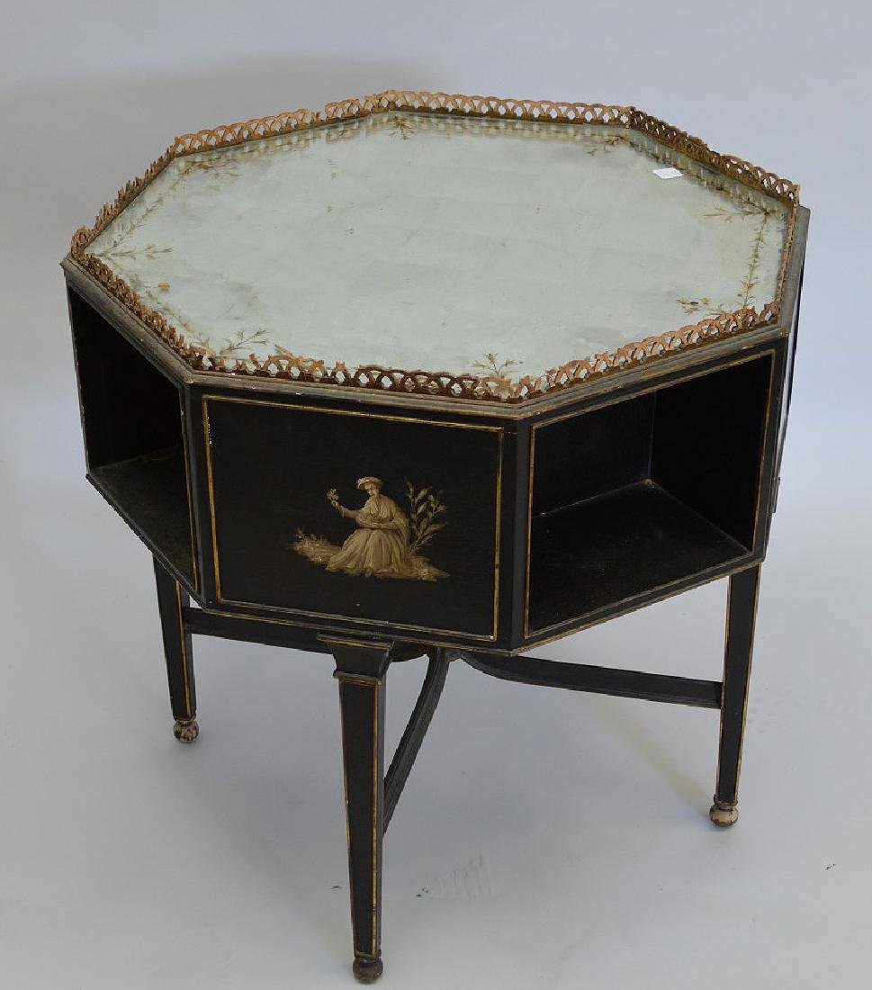 Octagonal occasional table with reticulated gallery,