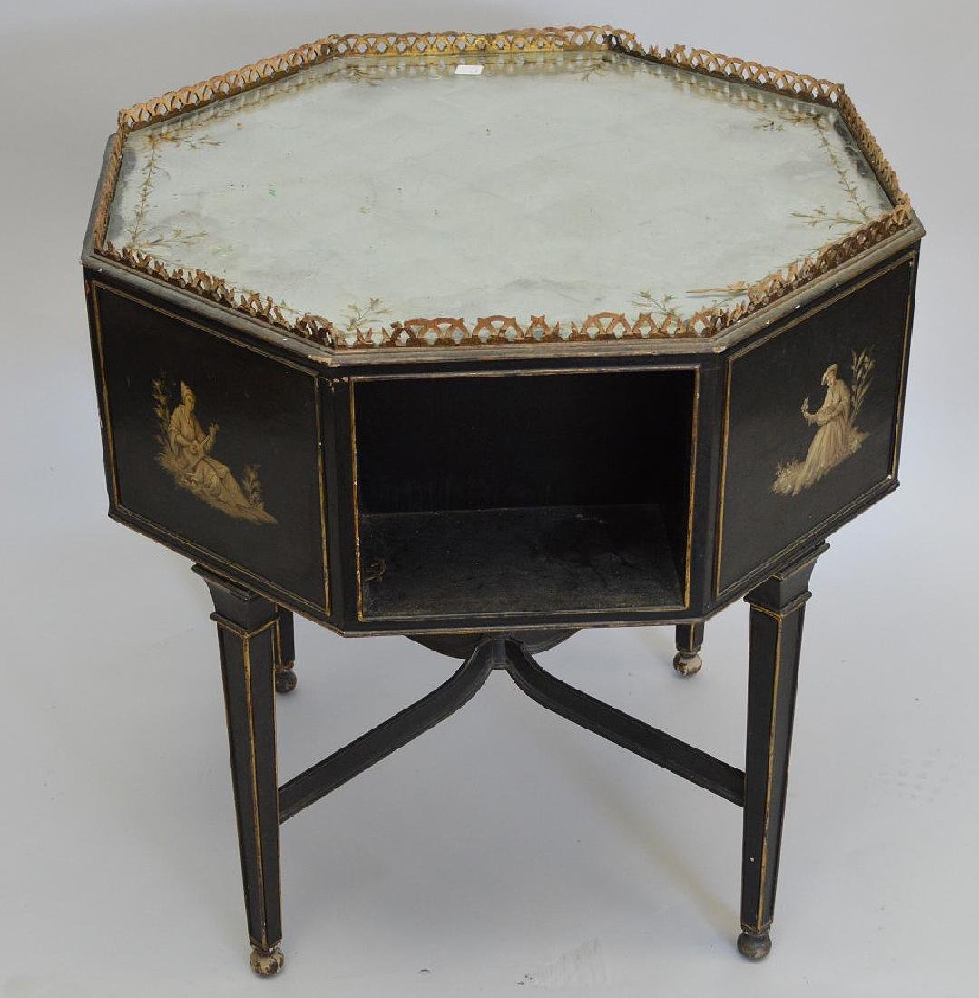 Octagonal occasional table with reticulated gallery, - 2