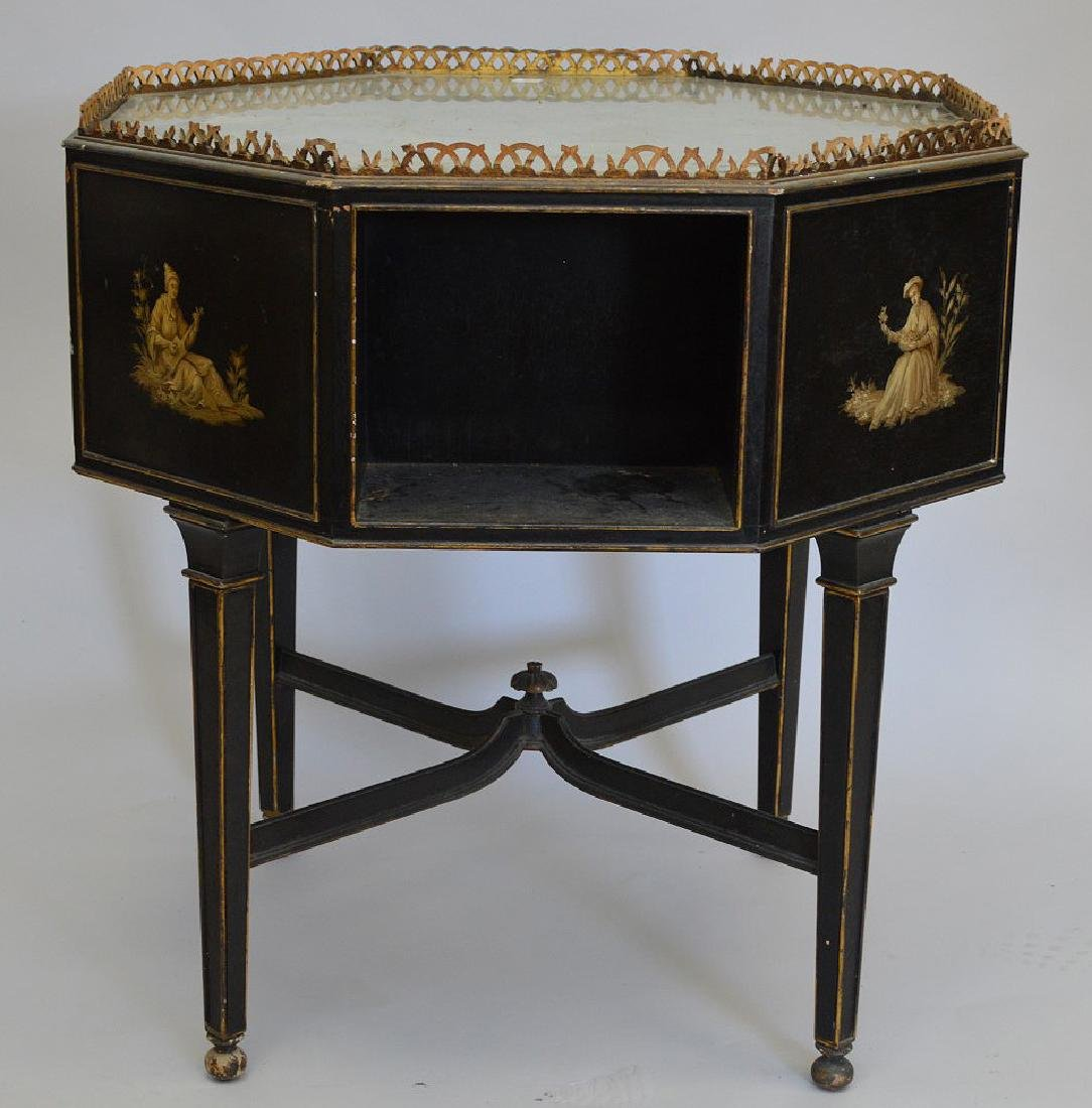 Octagonal occasional table with reticulated gallery, - 3