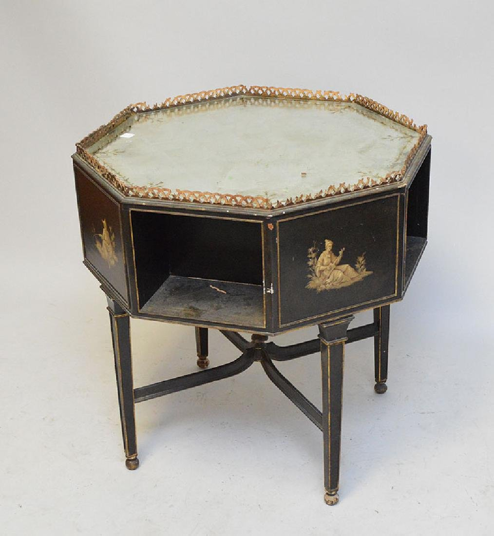 Octagonal occasional table with reticulated gallery, - 5