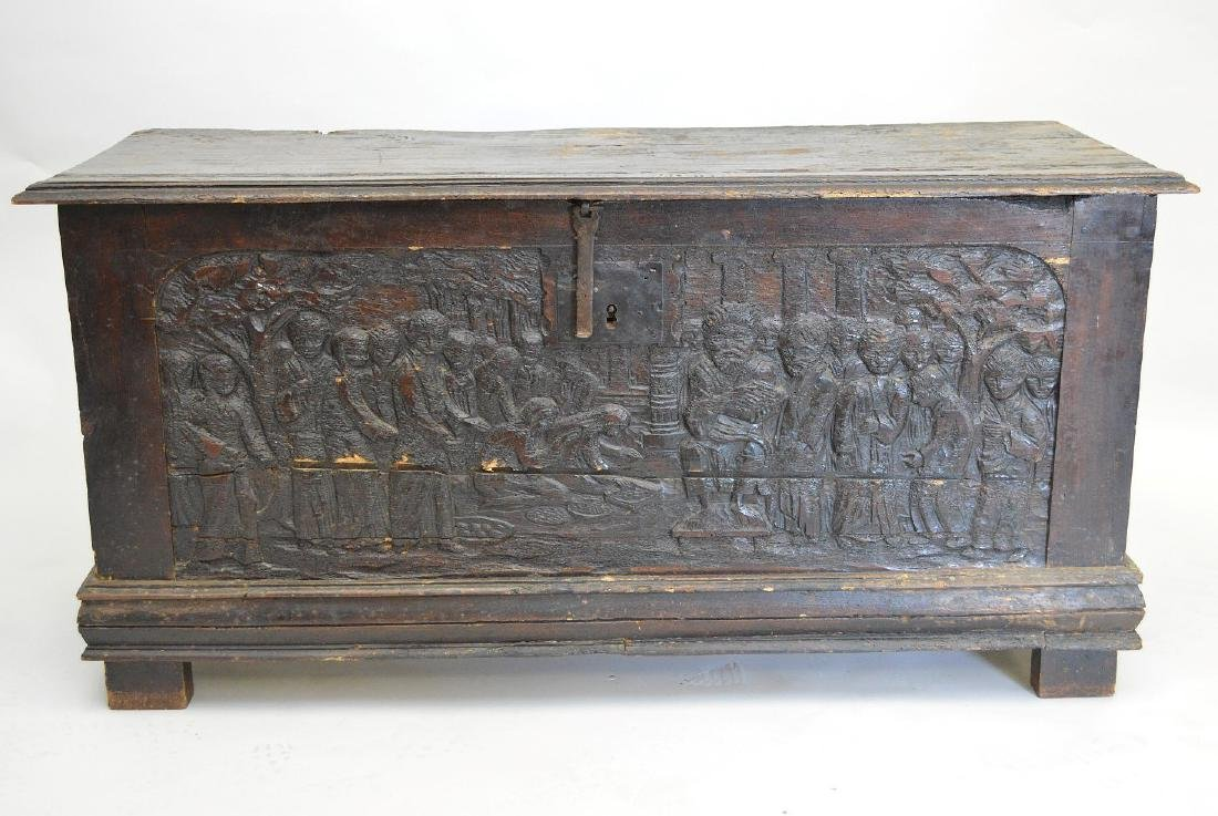 18th c. 6 board blanket chest with figural carving on