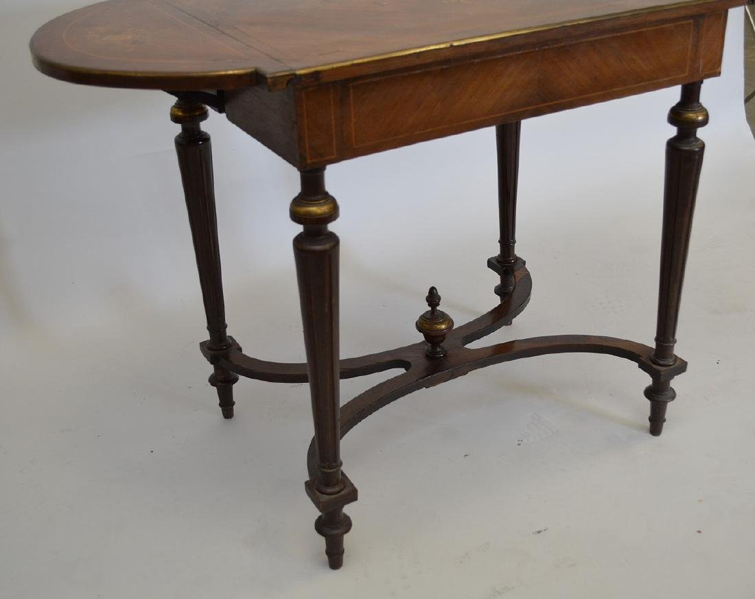 Mahogany marquetry occasional/sofa table with hinged - 3