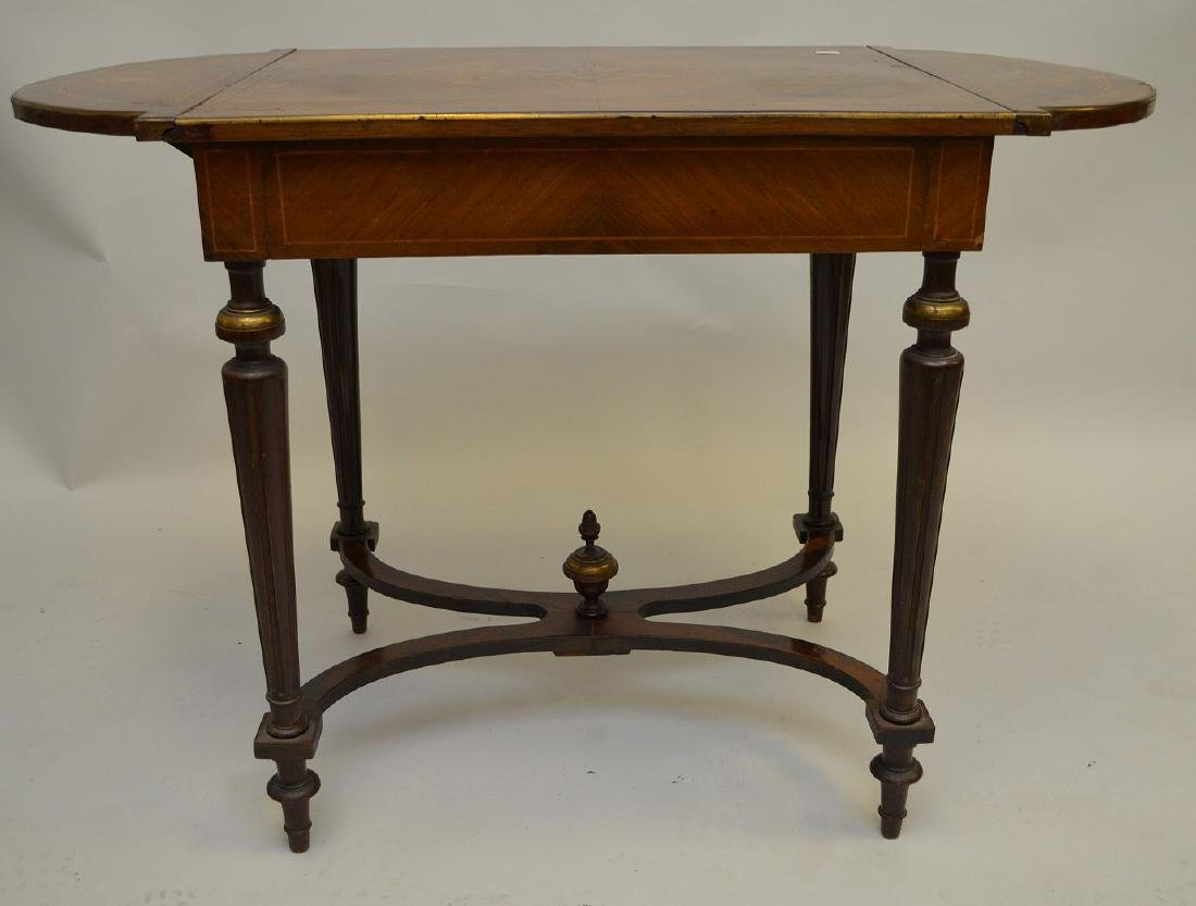 Mahogany marquetry occasional/sofa table with hinged - 4