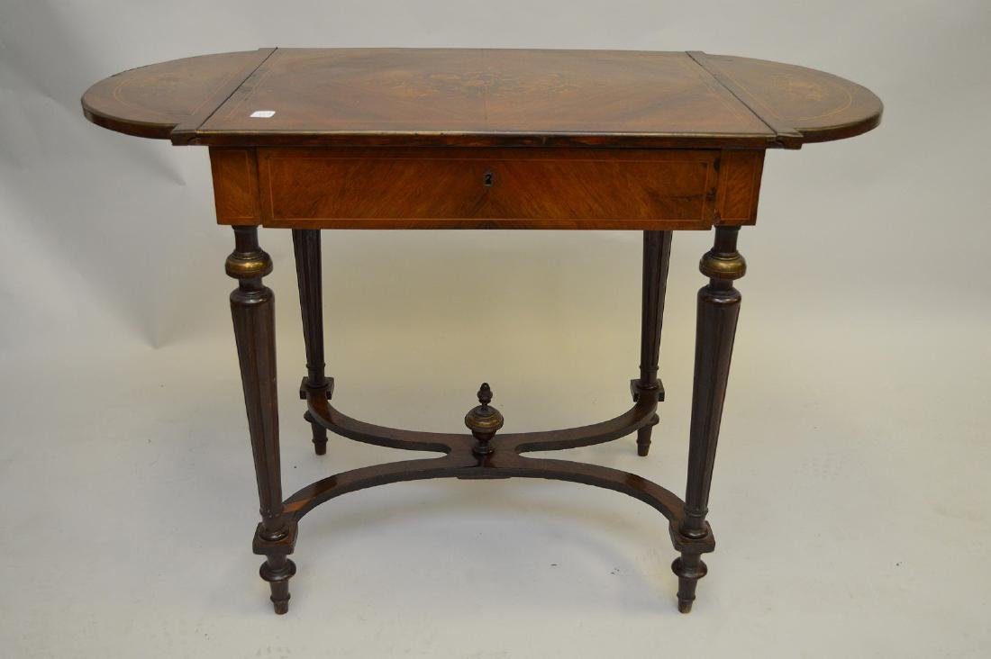 Mahogany marquetry occasional/sofa table with hinged - 6