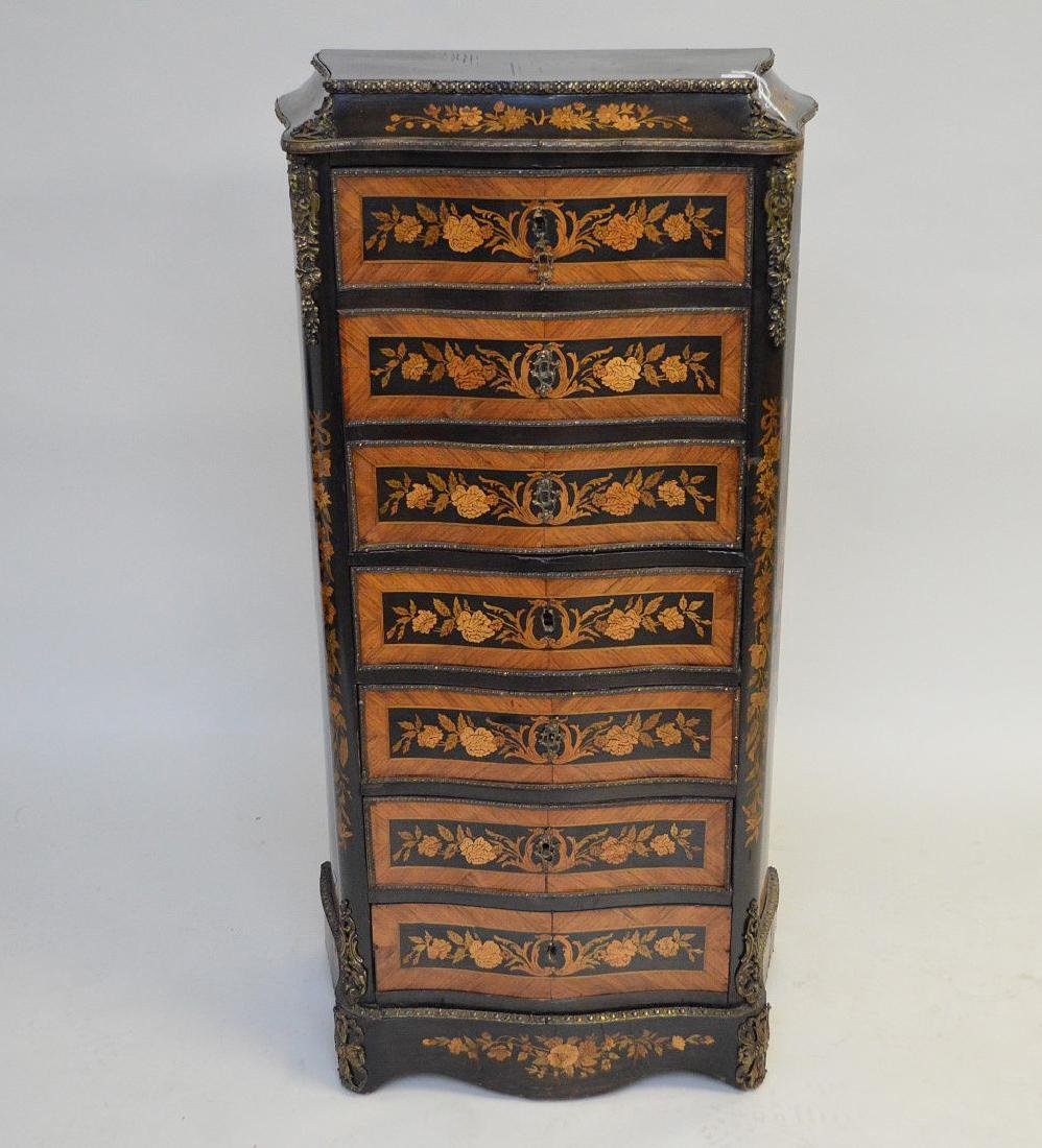 19th c. French Escritoire 7 drawer marquetry chest,