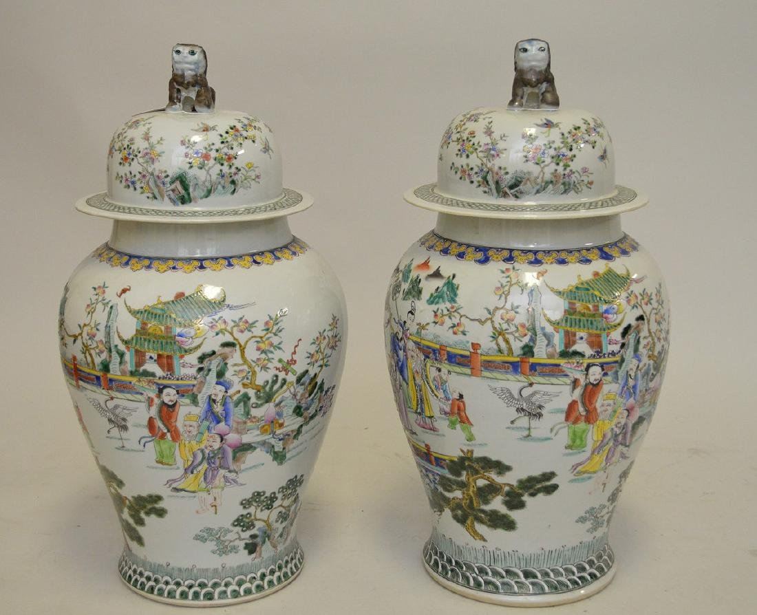 Pair of enormous Chinese hand painted covered jars,