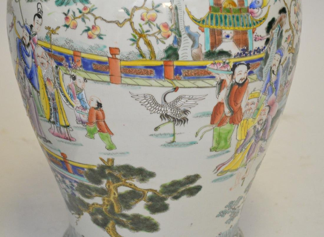 Pair of enormous Chinese hand painted covered jars, - 2