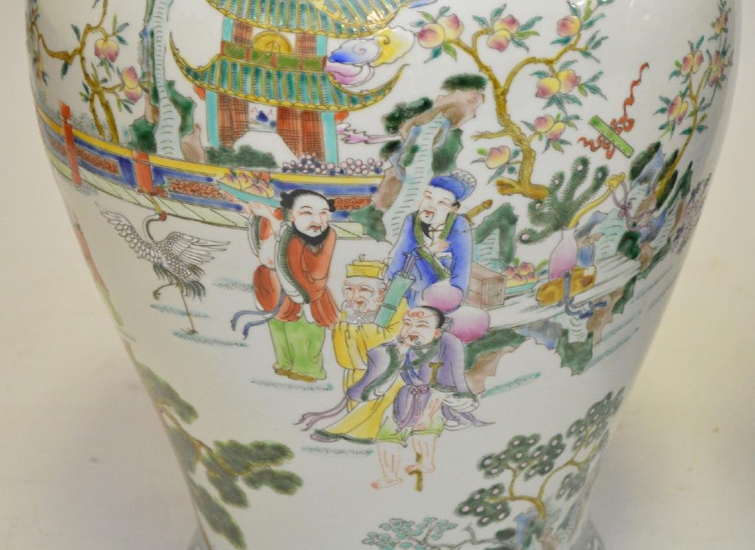 Pair of enormous Chinese hand painted covered jars, - 3