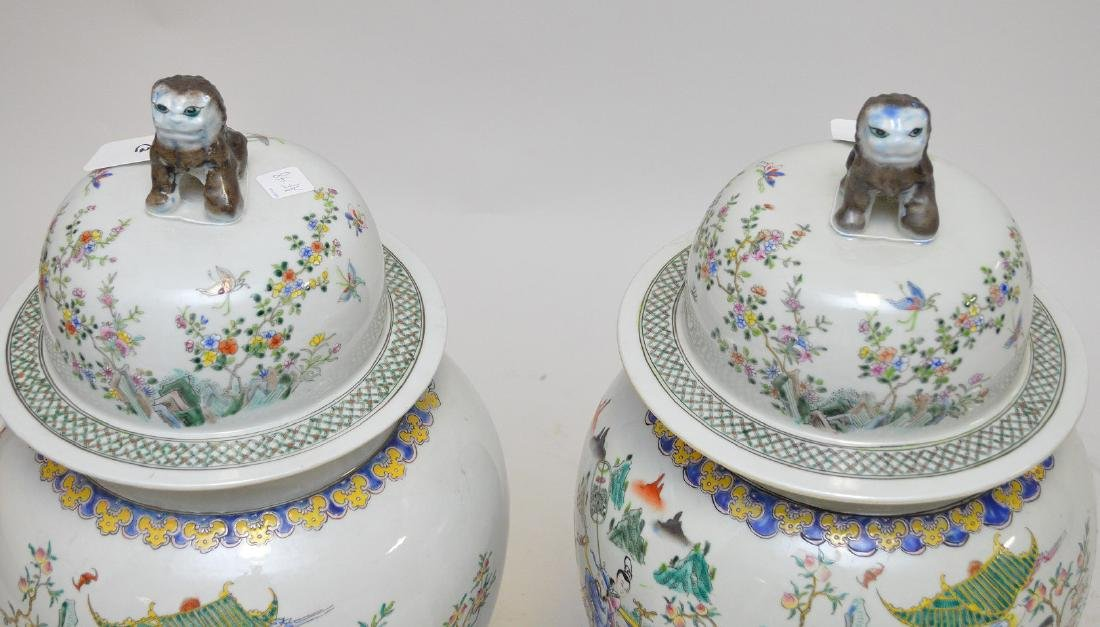Pair of enormous Chinese hand painted covered jars, - 4