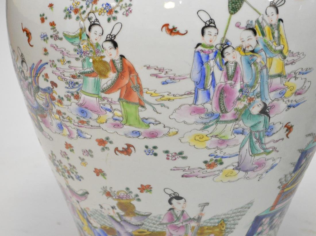 Pair of enormous Chinese hand painted covered jars, - 8