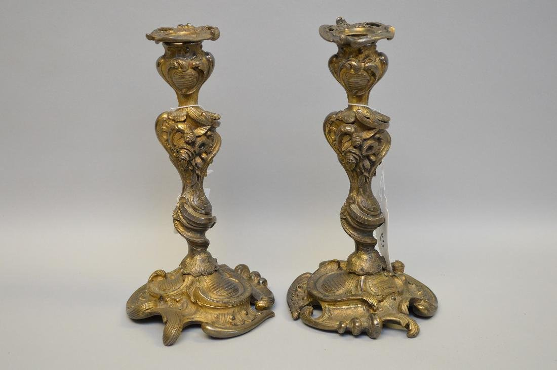 "Pair of 19th c. bronze Louis XV candlesticks, 10""h"